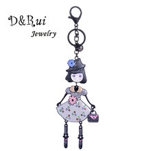 Black Enamel Doll Metal Key Ring Women Girls Kids Lovely Creative Keychains for Car Chains Chain Bag Accessories Best