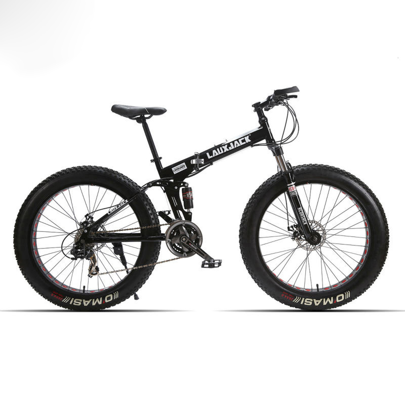 LAUXJACK Montagne Graisse Vélo Tout Suspendu En Acier Pliable Cadre 24 Vitesse Shimano Mécanicien De Frein 26 x4.0 Roue