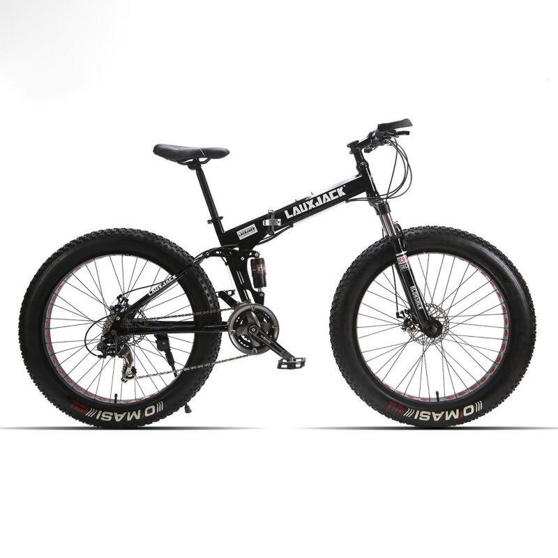 LAUXJACK Mountain Grasso Bici Full Suspension Acciaio Inox Pieghevole Telaio 24 Velocità Shimano Meccanico Freno 26