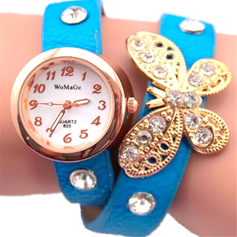 new design watch women fashion two round leather band lady quartz watch 10 color womage casual butterfly bracelet wristwatch