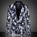 Мужчины Цветочный Блейзеры 2016 Новая Осень Мода Высокое Качество Плюс Размер М-6XL Промишленое Платье Тонкий Vintage Цветок Пиджак 13M0136