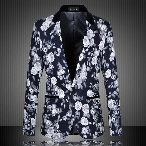 Hombres blazers florales 2016 nuevo otoño moda de alta calidad más el tamaño m-6xl buisness vestido delgado vintage flor traje chaqueta 13m0136