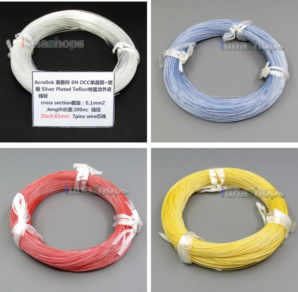 LN004390 200m Acrolink Silver Plated  OCC Tefl Wire Cable 0.1mm2 Dia:0.65mm For DIY Shure Se535 Westone W4r W40 Ulitimate-in Earphone Accessories from Consumer Electronics    1