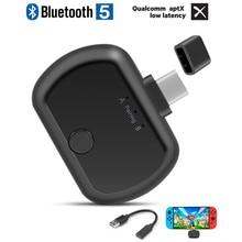 VIKEFON Type C Bluetooth 5.0 Audio Transmitter Aptx LL USB/Type C Wireless Adapter for Nintendo Switch PC TV TWS Headphone PS4