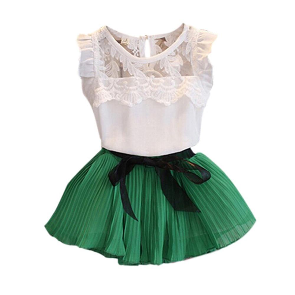 Children's Sets Tutu Skirt Girls Kids Chiffon Floral T-shirt+ Bow Skirts Set Party 2017 catimini girls t shirt 04 25