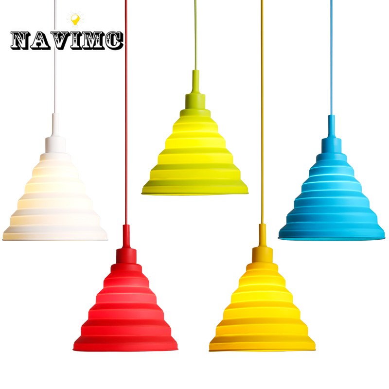 Pendant lights colorful <font><b>Led</b></font> E27 Silicone Vintage Edison <font><b>lustre</b></font> rope Restaurant Pendant lamp light for Dining Room Kitchen Island