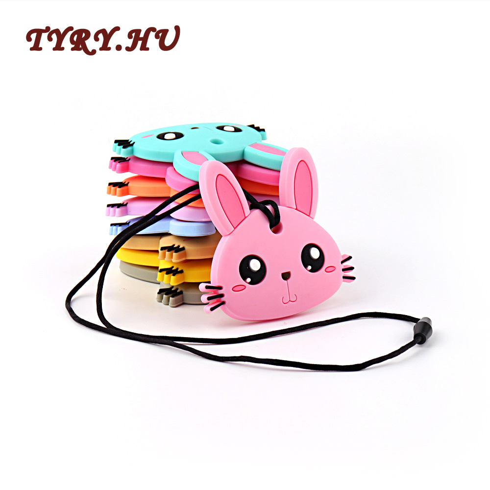 TYRY.HU 1PC Rabbit Teether Food Grade Silicone Beads Pendant Safe BPA Free for Nursing Baby Teeth Cartoon Lovely Toys Gifts