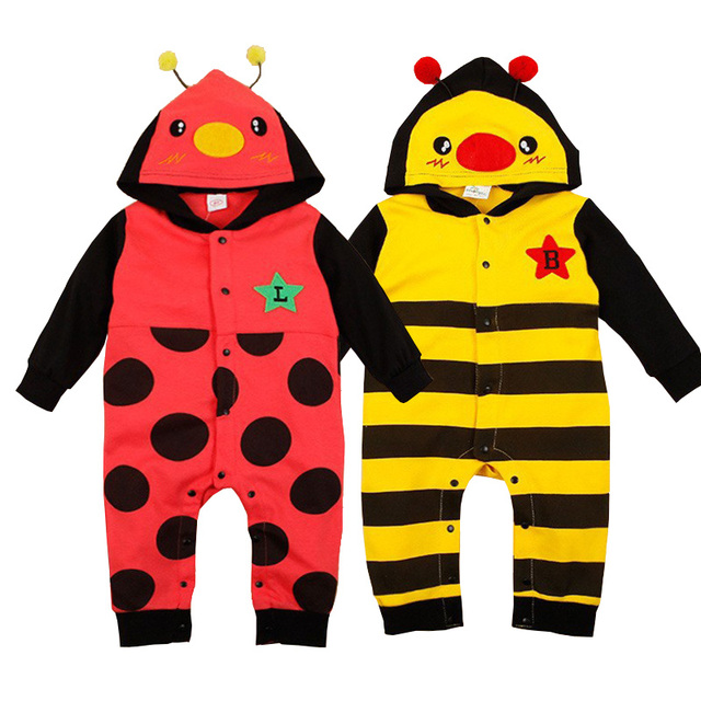 Baby Animal Onesie Polka Dot Roupas De Bebe Beatles Rabbit Bear Shape Newborn Baby Clothes Cotton Hooded Baby Animal Onesie
