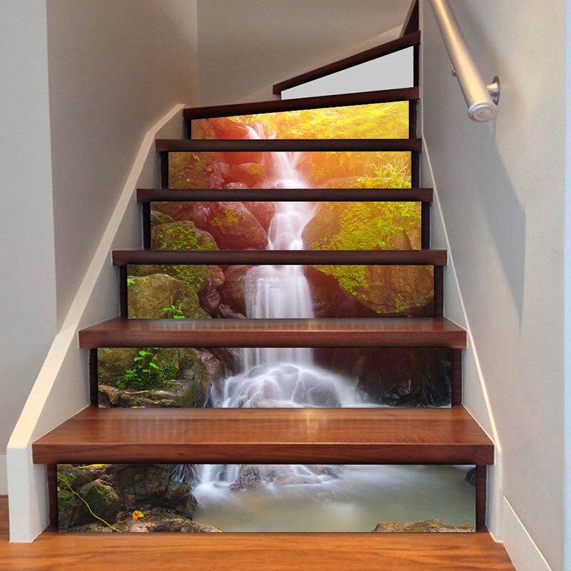 unidsset cascada d pegatina risers escaleras mural tema sunset pegatinas diy paisaje escaleras