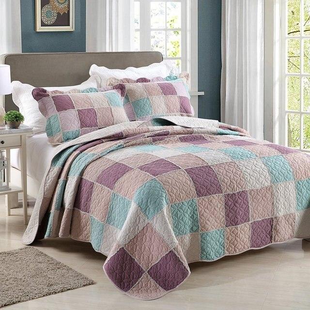 Online Shop WINLIFE 3Pcs 100% Cotton Plaid Patchwork Quilt Boys ... : boys patchwork quilt - Adamdwight.com