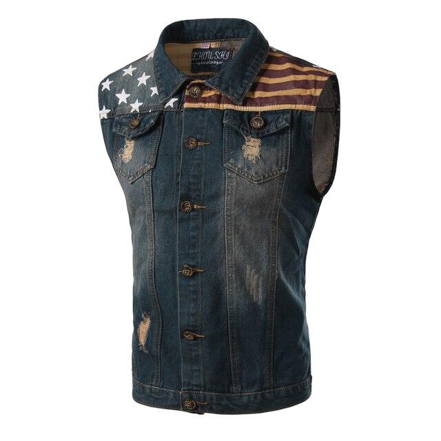 New Vest Men Spring Fashion American Flag Design Mens Slim Fit Denim Vest Male Casual Brand Sleeveless Jean Vest Men Xxxl