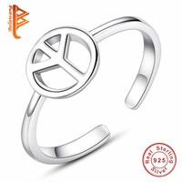 BELAWANG Silver Rings For Women Adjustable 925 Sterling Silver Peace Sign Open Finger Rings Anillos Female