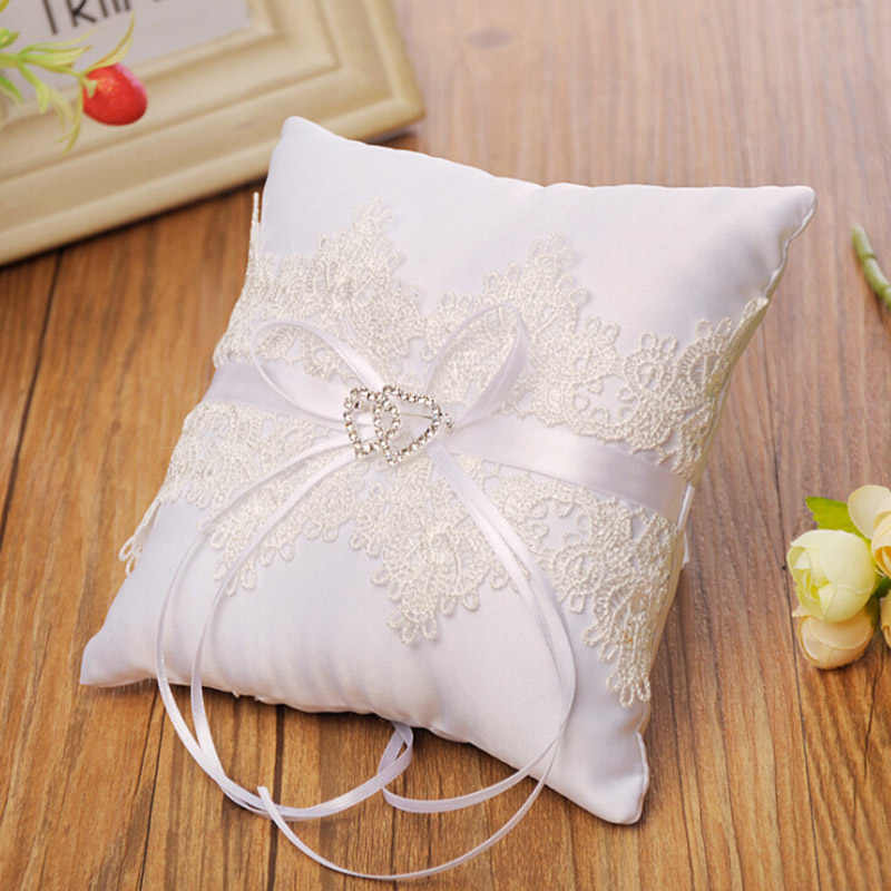 White Lace Wedding Ring Pillow Coussin Alliance Bridal Ring Bearer Pillow Cushions Wedding Marriage Ceremony Decorations