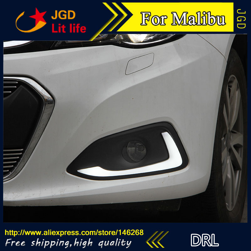 Free shipping ! 12V 6000k LED DRL Daytime running light for Chevrolet Malibu 2015 2016 fog lamp frame Fog light