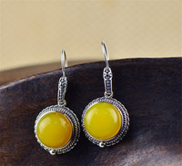 BESTLYBUY Vintage 925 Sterling Thai Silver Round Yellow Chalcedony Drop Earring Long Charm Fine Jewelry for Women FREE SHIPPING