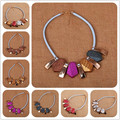 2016 New 8 color Simple Office Lady Women Tendy Romantic Fashion Elegant Party Acrylic Geometric Bib Rope Chain Chokers Necklace