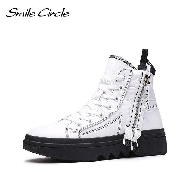 Gülümseme daire kış ayakkabı kadın yüksek top tıknaz ayakkabı kalın alt düz platform ayakkabılar kış sıcak peluş ayakkabı yüksek kaliteli
