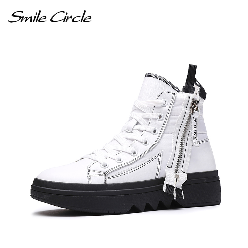 Smile Circle Winter Sneakers Women High-top chunky Shoes Thick bottom Flat platform Boots Winter Warm plush Shoes High-quality smile circle chunky sneakers women fashion lace up high top flat platform shoes for women thick bottom wedge sneakers