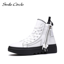 Smile Circle zimowe trampki damskie wysokie buty grube dno płaski obcas buty zimowe ciepłe zamszowe buty wysokiej jakości