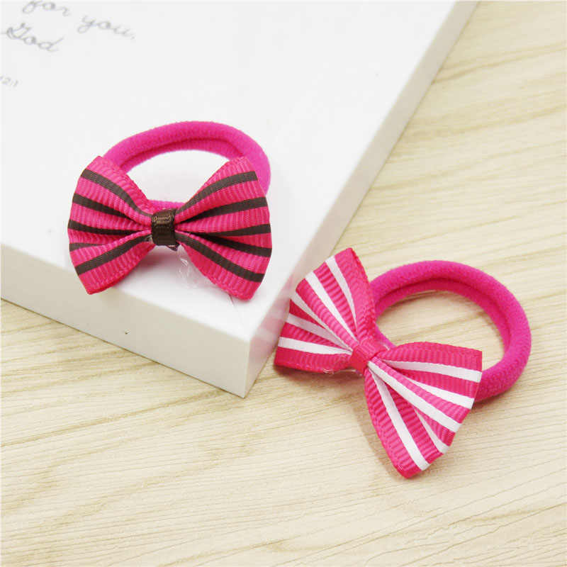 2PCS/LOT Lovely Stripes Small Bows Hairpin For Girls Handmade Child Elastic Hair Bands Scrunchy Clip Hair Accessories For Kids