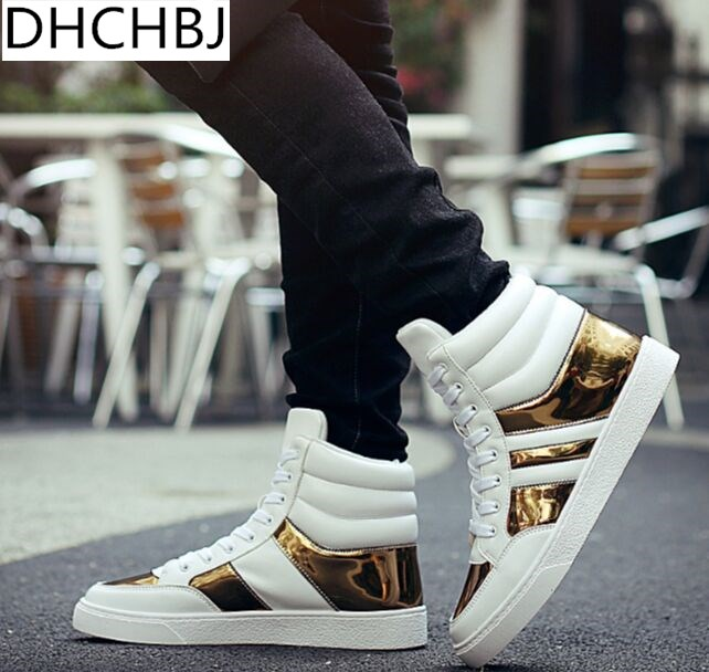 Hip Hop Footwear Males 2018 Spring Trend Sneakers Gold Excessive Tops Male Black Vulcanized Footwear Lace-Up Every day Flats Hombres