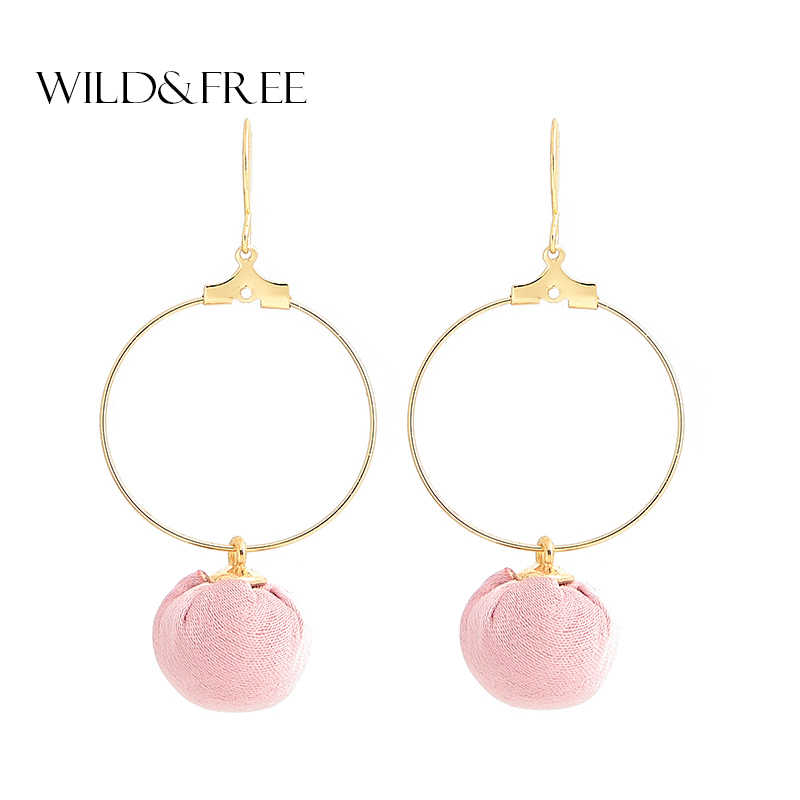Wild&Free 2018 New Pink Ball Drop Earrings Handmade 3 Colors Gold Copper Round Big Circle Dangle Earrings For Women Girl Gifts