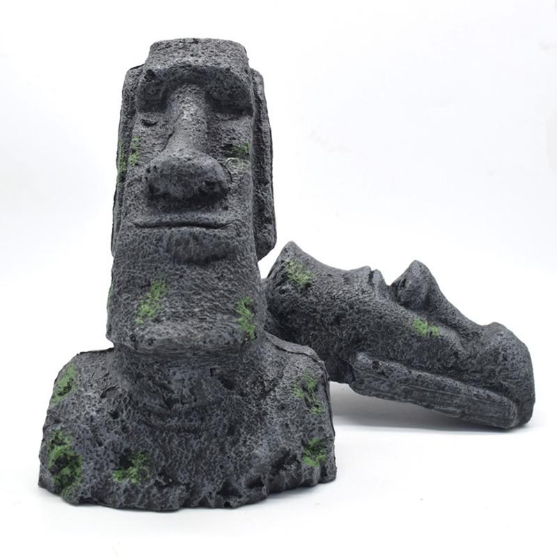 Easter Island Stone Statue Resin Ornament Fish Tank Aquarium Decoration Gnome Terrarium Reptile Tank Artificial Stone Home Decor
