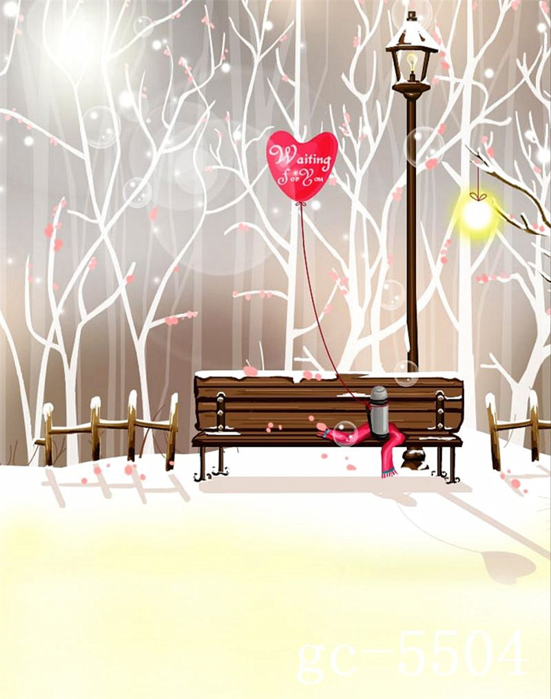 White Snow Tree With Red Heart Wedding Photography Background Backdrops Wood Chair Under The Street Lamp