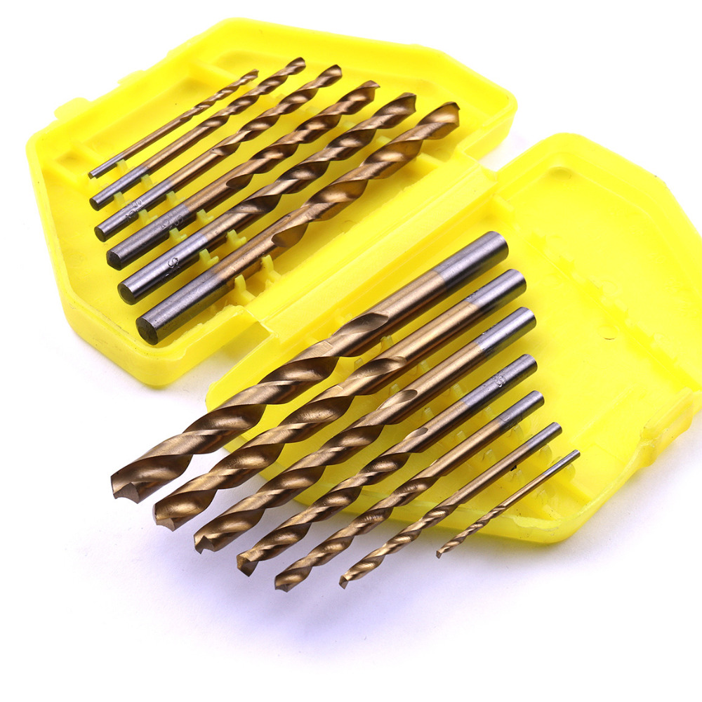 13Pcs British System Titanium Coated Drill Bits 1/16 To 1/4 Inch HSS High Speed Steel Twist Drill Bits Set with Butterfly case hand tools hss high speed steel titanium coated cordless twist drill set 13 pieces 1 4 hex shank 1 5 6 5mm