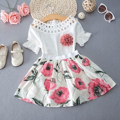 Toddler Kids Baby Girls T-shirt Tops+Skirt Dress Summer Outfits Clothes 2PCS Set 2019 New Arrival Soft Cute High Quality