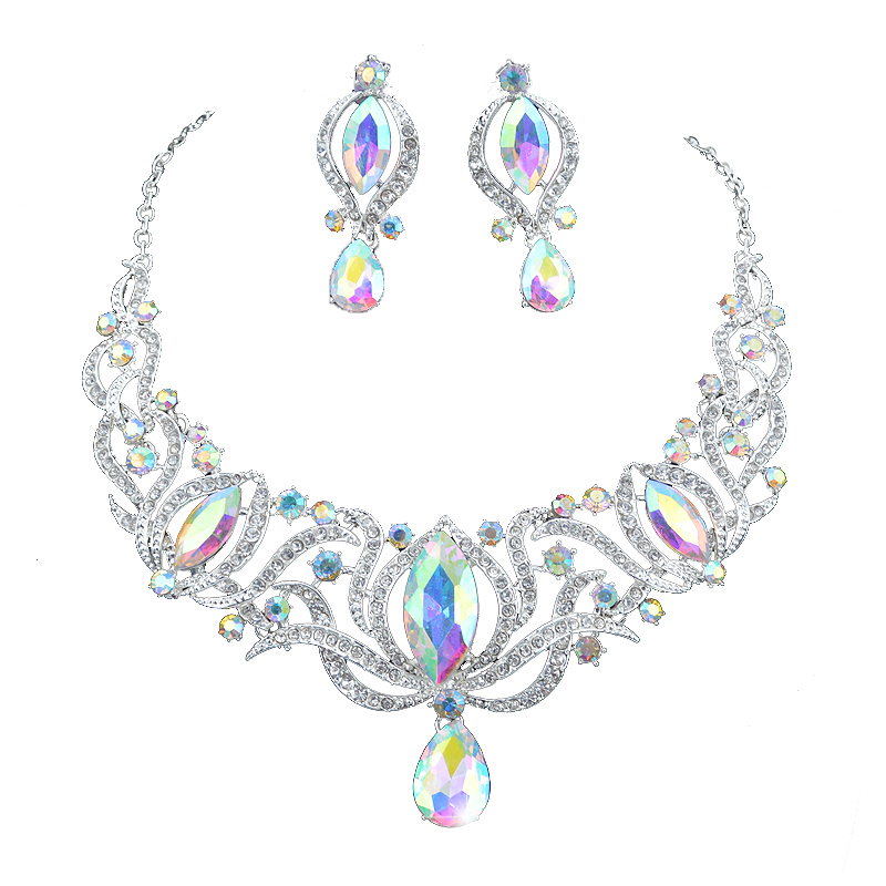 High quality india style silver Jewelry sets bridal necklace earrings set women wedding party AB color jewelry accessories luxury rhinestone bridal necklace earrings set crystal ab color aurora color evening party jewelry set drop water flower style