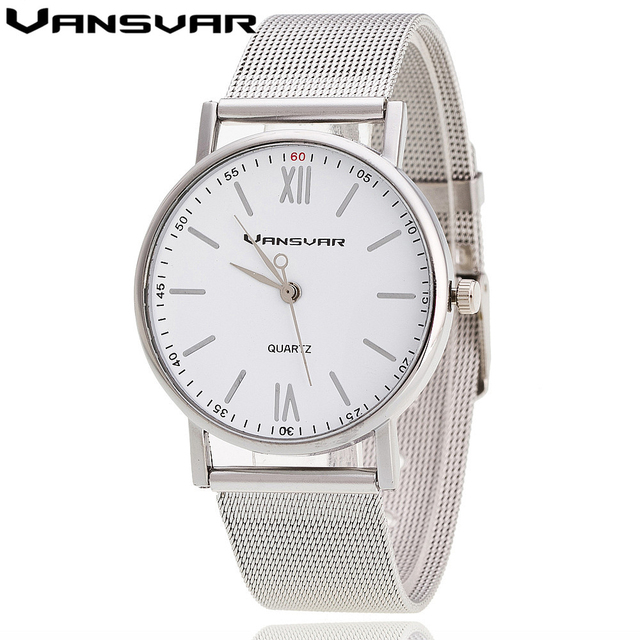 Vansvar 2016 New Style Watch Silver Band Women Wristwatch Quartz Watches Casual Relogio Feminino 1696