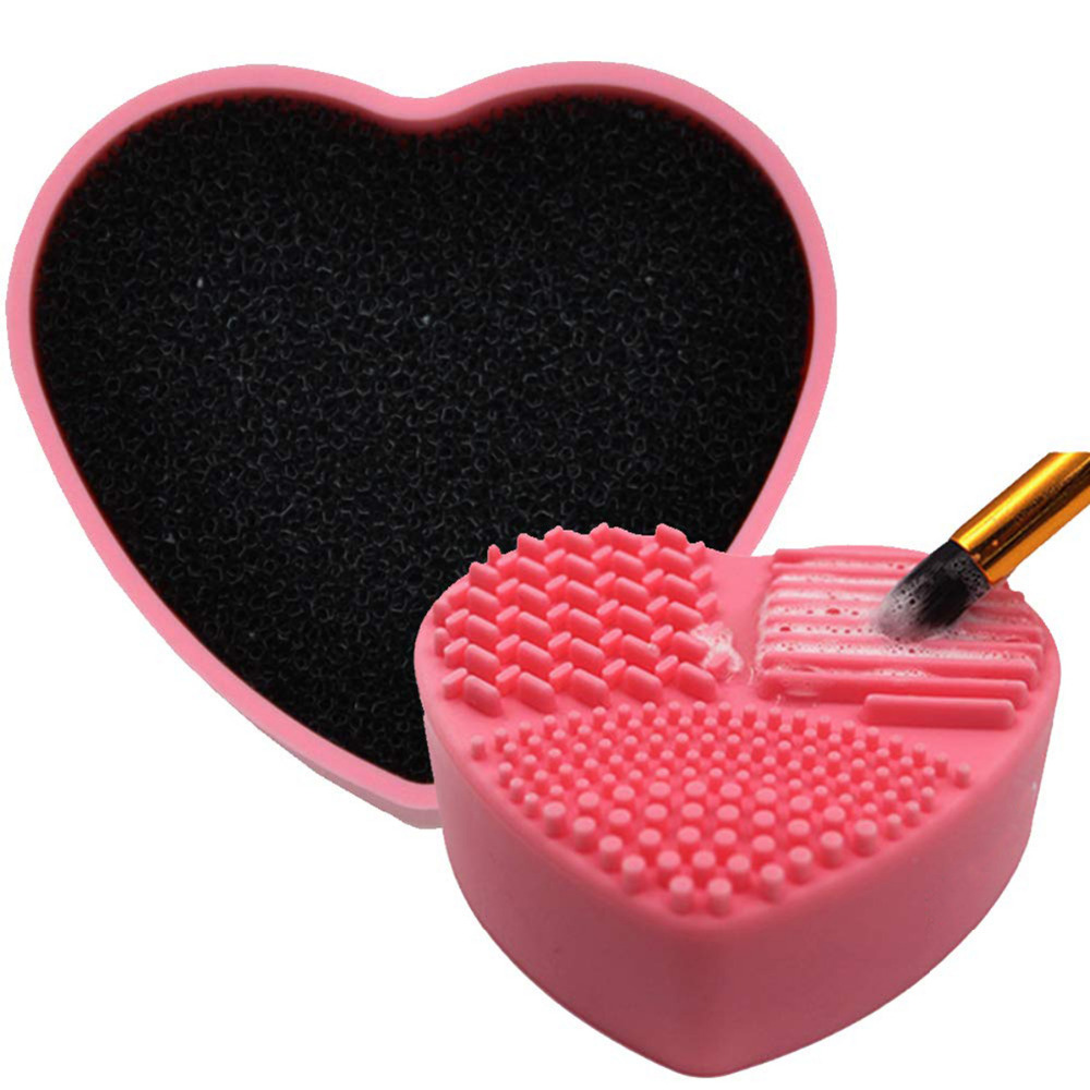 Silicone Makeup Brush Cleaners Portable Compact Mini Practical Cosmetic Brush Cleaning Box Scrubber Cleaner Kit Dry Wet Dual Use