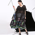 [Soonyour] 2106 modelos de verano nueva graffiti imprimir suelta más el tamaño grande oscilación de manga corta dress busto costura more140cm 46791