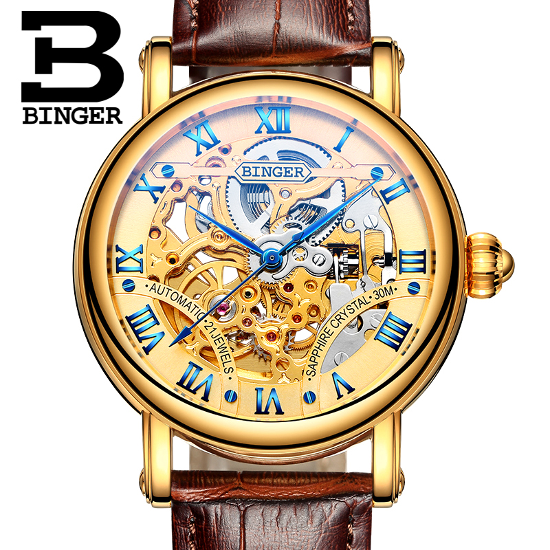 BINGER Men Wristwatches Skeleton Male Clock Leather Strap Steampunk Gold Casual Watches Automatic Mechanical Watch 2017 Gift vintage bronze men wristwatch skeleton clock male leather strap antique steampunk casual automatic skeleton mechanical watches