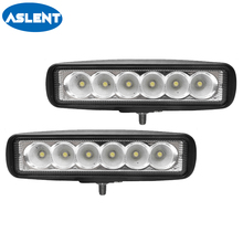 Aslent 6 inch 18W LED Bar Flood  beam Headlight Work Light For 4WD 4x4 Offroad SUV ATV Tractor Truck Boat 12V 24V 6500k