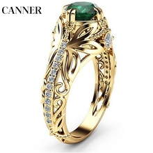CANNER Green Crystal Stone Plated Gold Rings Jewelry Micro-inlaid Imitation Decorative Wholesale Gift Present R4