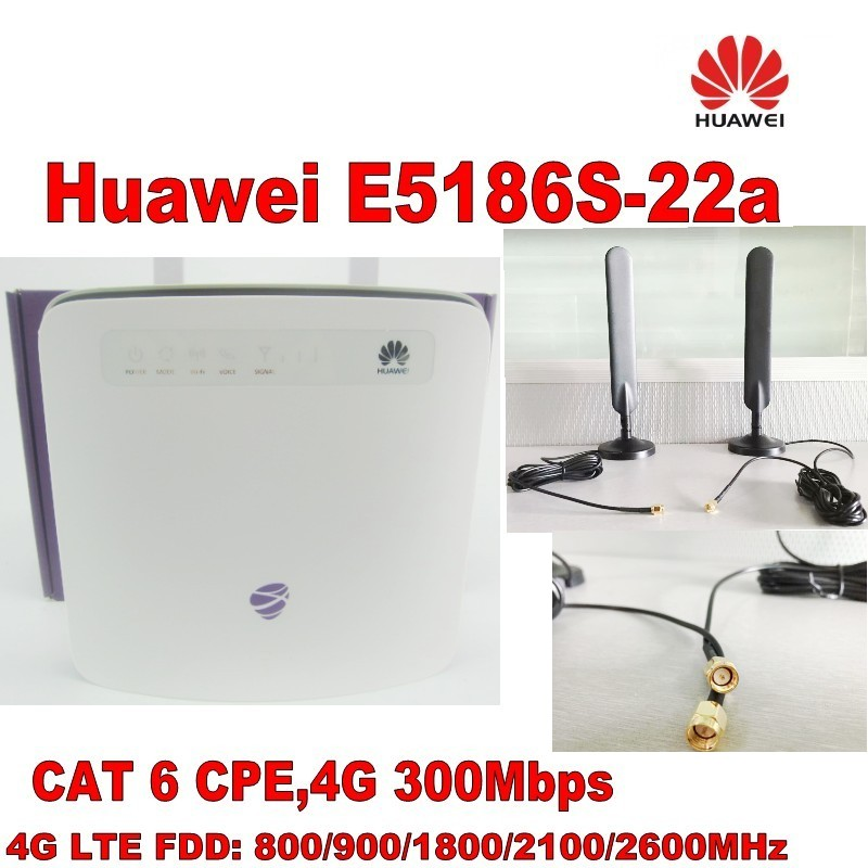 Unlocked cat6 300Mbps Huawei e5186 E5186s-22a 4g LTE wireless router 4g wifi dongle Mobile hotspot with antenna