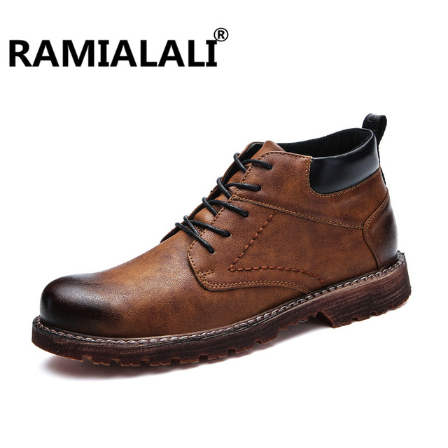 a0b2333db29a0 Ramialali Men Boots Leather Ankle Autumn Winter Luxury Business Dress Boots  Martin Boots Oxford High Top Men Casual Shoes Botas