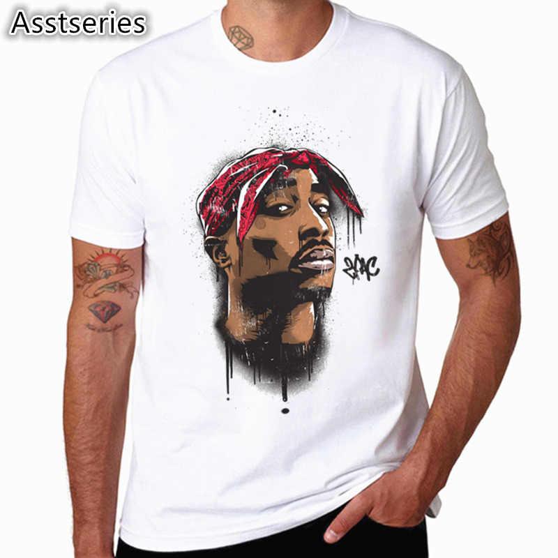 Мужские азиатского размера Для женщин печать Тупак 2pac футболка с короткими рукавами и круглым вырезом белая футболка хип-хоп Swag harajuku уличная футболка