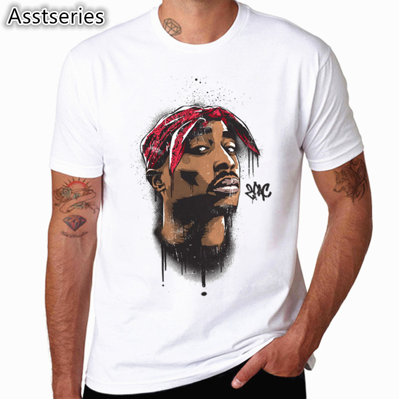 Asian size Men Women Print Tupac 2pac   T  -  shirt   Short sleeve O-Neck White Tshirt Hip Hop Swag harajuku Streetwear   T     shirt