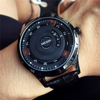MEGIR Simple Style Fashion Men Quartz Watch Luxury Creative Leather Band Waterproof Casual Men's Watches Relogio Masculino