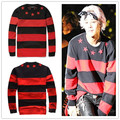 kpop Right Zhi-Long GD 2015 new Hoodies male bigbang sleeved striped Sweatshirts Hoody of stars k-pop GD timati fashion