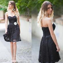 Neue Sexy Schwarz Eine Linie Partei Cocktail Prom Kleid Mit Lace Knielangen Backless Schärpe Weg Von Der Schulter Vestidos Benutzerdefinierte ZY3178