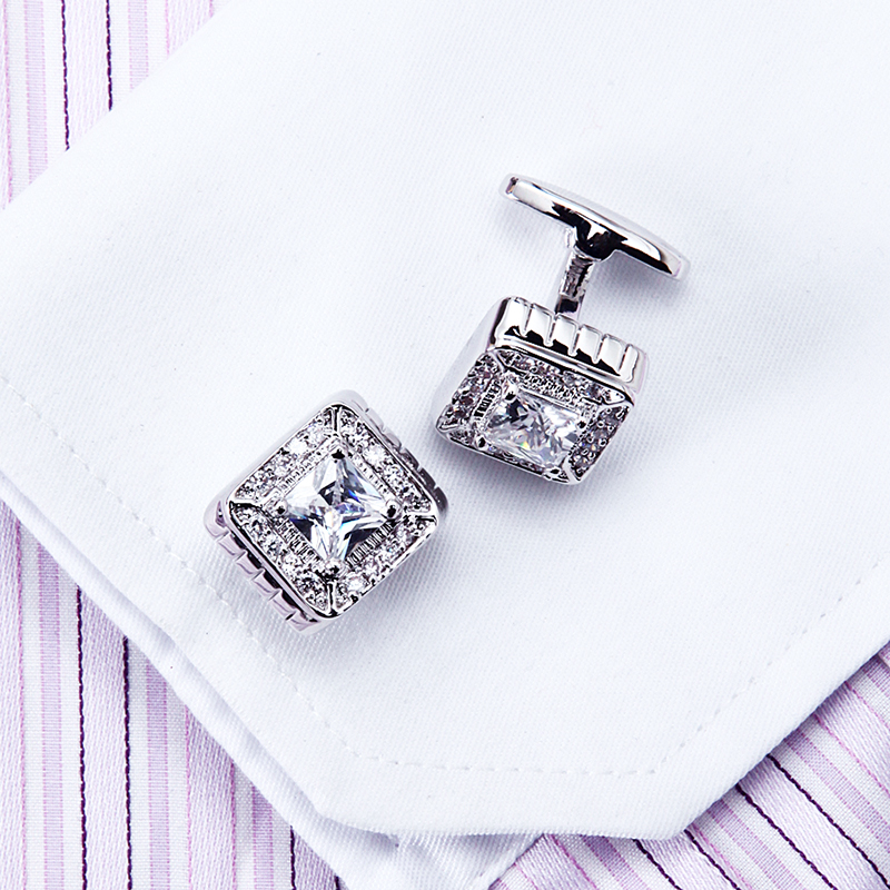 KFLK jewelry Shirt Luxury cufflinks for mens Gifts Brand cuff buttons White Crystal cuff links Quality abotoaduras Free Shipping