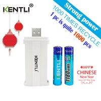 KENTLI 2pcs No Memory Effect 1 5v 1180mWh AAA Lithium Li Ion Rechargeable Battery 2 Channels