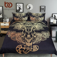BeddingOutlet Golden Elephant Bedding Set Queen Size Black Luxury Bedspread Indian Bohemian Bed Cover Set 3pcs