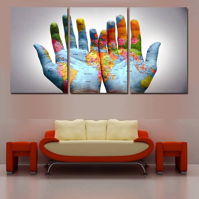 3 pcs the hands of the world map wall art picture painting canvas 3 pcs the hands of the world map wall art picture painting canvas modern home decor gumiabroncs Images