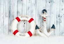Laeacco Baby Board Anchor Swimming Ring Photography Backgrounds Vinyl Digital Customized Photographic Backdrops For Photo Studio