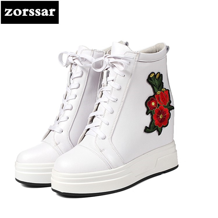 {Zorssar} Women Ankle snow Boots Height Increasing Platform Casual Shoes Woman Spring Autumn Hidden Wedge Sneaker Creeper shoes цена